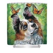 Dog With Butterflies Shower Curtain