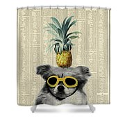 Dog With Goggles And Pineapple Shower Curtain