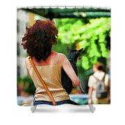 Dog Woman Walk Nyc Paint  Shower Curtain
