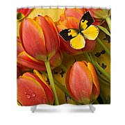 Dogface Butterfly And Tulips Shower Curtain