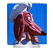 Doggie Dinner Sign Shower Curtain by Garry Gay
