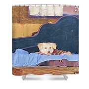 Doggy In The Guitar Case Shower Curtain
