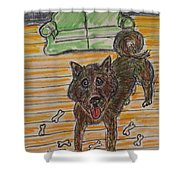 Doggy Snack Time Shower Curtain