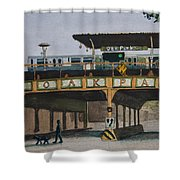 Dogs And Trains In The Village Shower Curtain