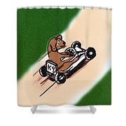 Dogs Don't Ride Go Carts Shower Curtain