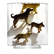 Dogs Figurines Shower Curtain