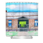 Dogtrot Cracker Home Drawing Shower Curtain