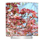 Dogwood Tree Landscape Pink Dogwood Flowers Art Shower Curtain