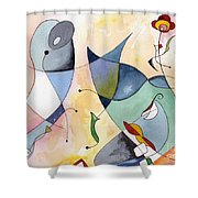 Dolphin Garden Shower Curtain