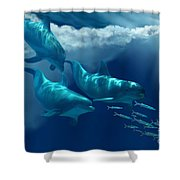 Dolphin World Shower Curtain by Corey Ford