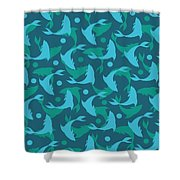 Dolphins In Blue  Shower Curtain