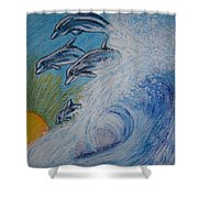Dolphins Jumping In The Waves Shower Curtain