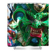 Dominican Republic Carnival Parade Green Devil Mask Shower Curtain