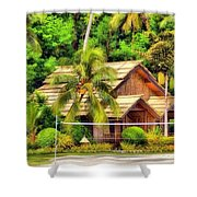 Donnie Isaacs - Beautiful Green Trees House Nature Landscape  Shower Curtain