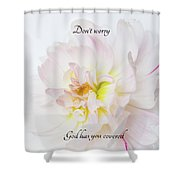 Don't Worry Square Shower Curtain by Mary Jo Allen