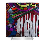 Doodle Page 6 - Bones And Curtains - Ink Abstract Shower Curtain