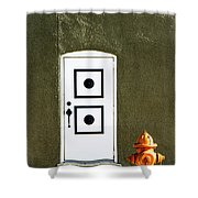Door And Orange Hydrant  Shower Curtain