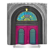 Door Fushia Shower Curtain