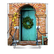 Door With Holiday Reef Shower Curtain