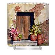 Door With Pots Shower Curtain
