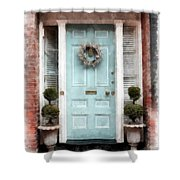 Doors Of Boston Blue Shower Curtain
