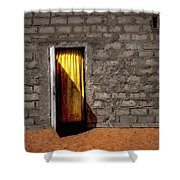 Doorway To A Yellow Curtain Shower Curtain