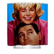 Doris Day Rock Hudson Shower Curtain by Paul Van Scott
