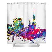 Dortmund Skyline-colorful Shower Curtain