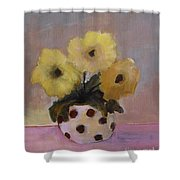 Dotted Vase With Yellow Flowers Shower Curtain