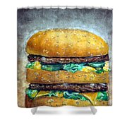 Double Burger To Go Shower Curtain