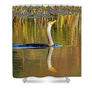 Double-crested Cormorant - 2 Shower Curtain