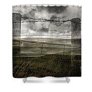 Double Exposure Landscape Shower Curtain