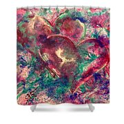 Abstract Double Hearts Shower Curtain