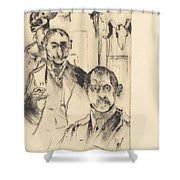 Double Portrait With Skeleton (doppelbildnis Mit Skelett) Shower Curtain