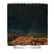 Double Rainbow Over Hoodoos Bryce Canyon National Park Shower Curtain