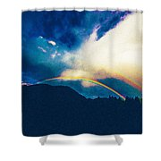 Double Rainbow Over Provo, United States Shower Curtain