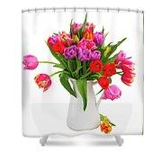 Double Tulips Bouquet Shower Curtain