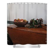 Dough Box Table At Christmas Shower Curtain