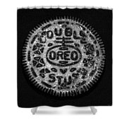 Doulble Stuff Oreo In Black And White Shower Curtain