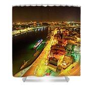 Douro River Skyline Night Shower Curtain