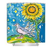 Dove And Sunflower Shower Curtain