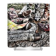 Down Boots Up Boots Shower Curtain