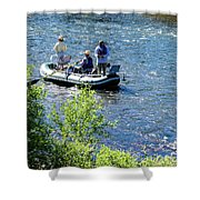 Down River Fly Fishing Shower Curtain