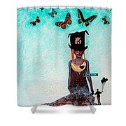 Down The Rabbit Hole Shower Curtain by Sharon Cummings