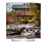 Down The Road To Greenbanks's Hollow Covered Bridge Shower Curtain