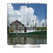 Downeast Style Yacht Docked On Shem Creek In Charleston Shower Curtain