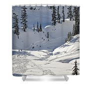 Downhill Skiers Shower Curtain