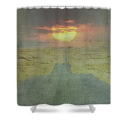 Downhill Sunset Shower Curtain