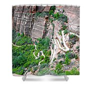 Downhill Switchbacks From Angels Landing Shower Curtain