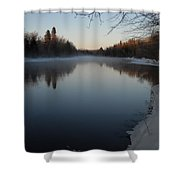 Downstream Mississippi River After Ice Out Shower Curtain